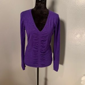 Express purple longsleeve sweater with ruching Med